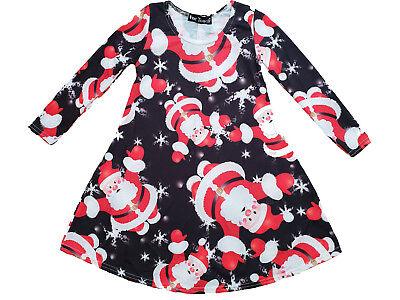 New Girls Christmas Swing Dress Santa Claus Xmas Party Dress Novelty Top Cheap (Cheap Santa Dresses)
