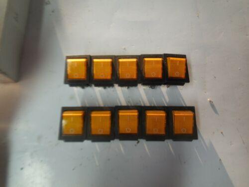 (10) Deaier Rocker Switch Amber KCD2-202N New