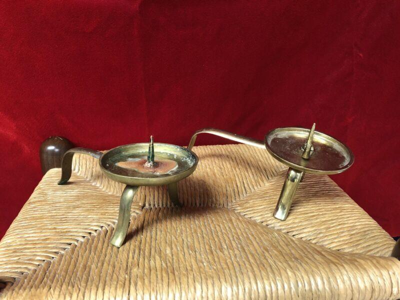 Antique Interesting Brass Candlesticks
