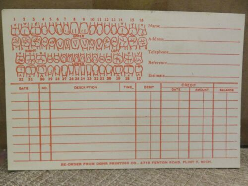 Older LOT of TEN DENTAL OFFICE FORMS/CHART RECORDS from Dohr Printing Co.