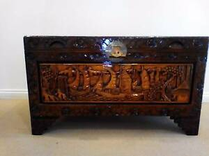 Carved Camphor wooden chest Camberwell Boroondara Area Preview