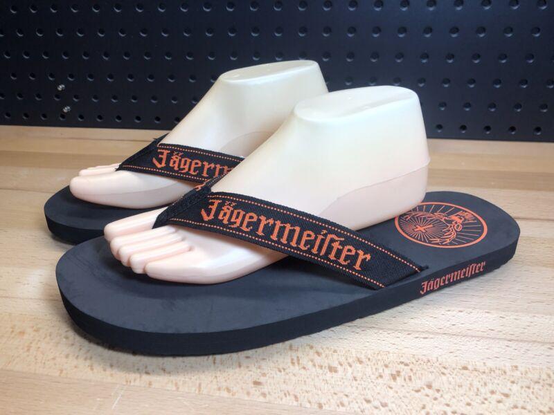 New! Jagermeister Sandals Flip Flops Size Medium Black Liquor Advertising.