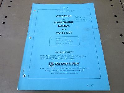 Taylor Dunn Operator Maintenance Manual With Parts List Model R3-80