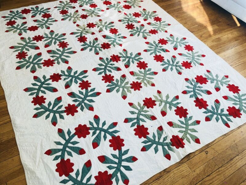 Antique Album Wreath Applique Quilt c1860-80 Turkey Red & Green Gorgeous