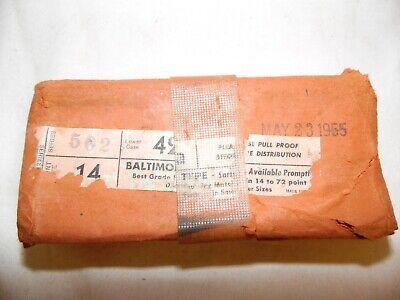 Antiquevintage 42a 14pt - 72pt Baltimore Letterpress Typeset Type Set 1955
