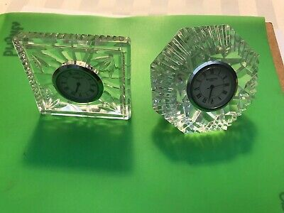 2 WATERFORD CRYSTAL TABLE CLOCK  MADE IN GERMANY