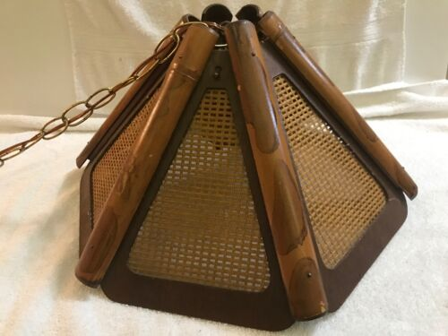 Vintage Bamboo Tiki Ceiling Swag Light -- Perfect for a Poker Room!