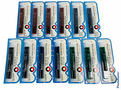 Lot Of 13 Sheaffer Fountain Pen Classic Ink Cartridges Red Blue Green Black