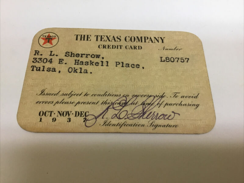 1937 Texaco Oil Company Credit Card