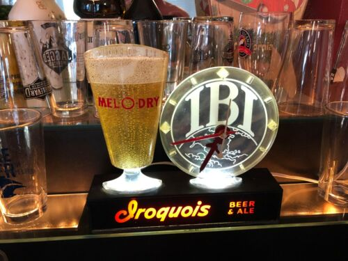 RARE 50s BREWERIANA:Vintage IROQUOIS Beer Lighted Clock IBI Mel O Dry WORKS
