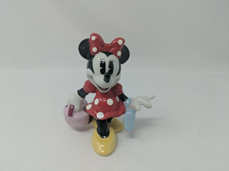 Minnie Mouse Shopping Porcelain Figurine Disney Red Dress Pink Hat Box