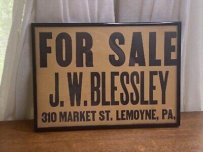 VINTAGE Cardboard SIGN For Sale J. W. Blessley Motors 310 Market St. Lemoyne PA