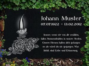 Grabstein Grabplatte Grabtafel aus Granit 30x20 cm Wunsch Gravur mit Motiv g48