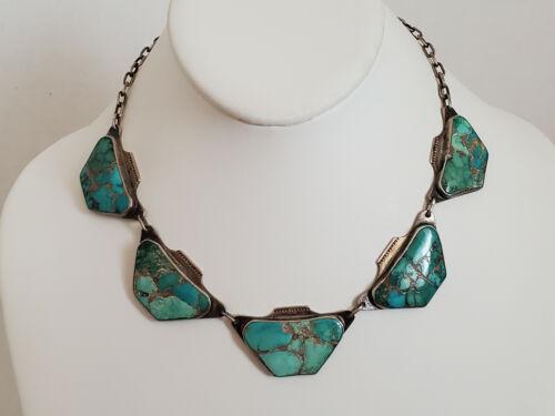 Rare VTG Douglas Holmes Hopi Sterling Turquoise Hopi Pottery Design Necklace
