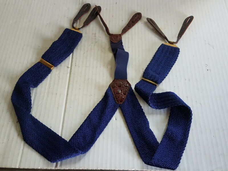 Vintage Blue Hickok Suspenders Brass Leather