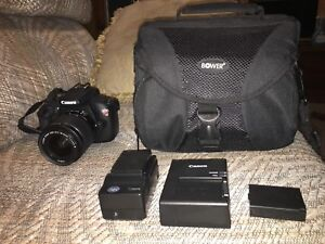 Canon Rebel T5, 2 chargers, 3 batteries and camera bag