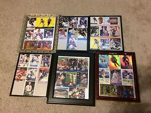 LOTS of Hockey/baseball cards in frames
