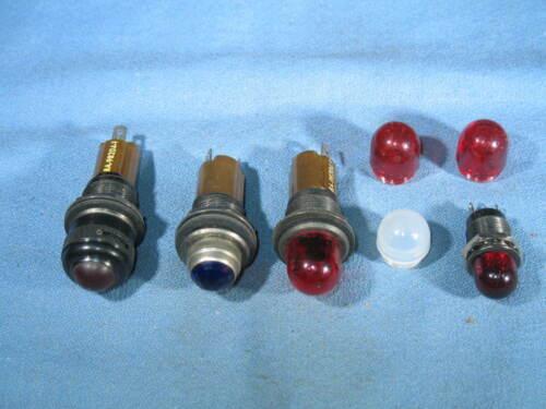 "3 DIALCO 11/16"" Panel Mount Brown Pilot Indicator Bulb Sockets & Lens Caps - NEW"