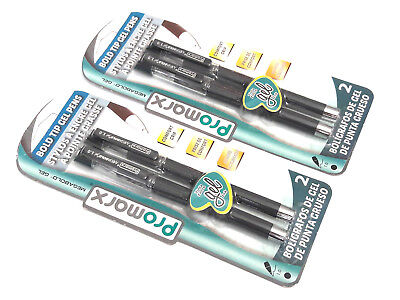 2 Packs 4 Pens Promarx Megabold Bold Tip Gel Pens Black Ink 1.0 Comfort Grip