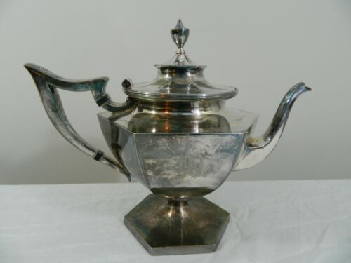 Antique Derby Silver Co  Silverplate Footed Coffee Tea Pot 1642 Vintage Monogram