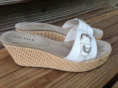 Prada White Leather Slide Espadrilles Wedges Sandals shoe women Size 38.5 -8.5