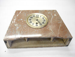 Vintage Marble Case & Two Side Pieces Upright Mantle Art Deco Clock Needs Work