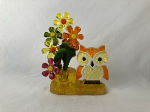 RARE Vtg Lucite Acrylic Owl w/ Flowers Figurine Decor Mid Century New Designs