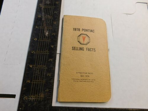 1978 PONTIAC SELLING FACT  BOOKLET bb