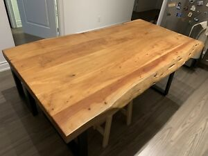 Mobilia wooden dining table with bench