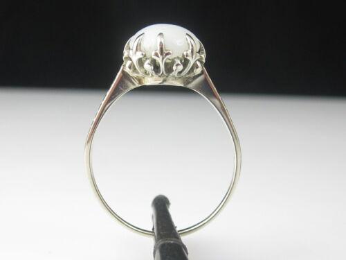Setting Mount 14K White Gold Estate Vintage Crown Head 8.8mm Round Cabochon