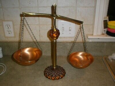 Vintage Mid Century Weight Scale for Kitchen Fruit Fancy Glass & Metal