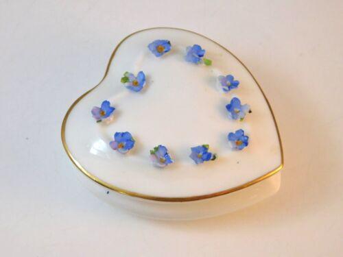 British Vintage Coalport Fine Bone China Forget me Not Flower Heart Trinket Box