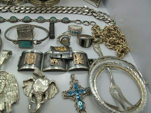 1000 Gram Lot of 925 Sterling Silver Jewelry & Antiques Not Scrap
