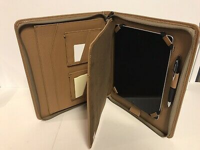 Ipad 4 Tan Leather Portfolio Case W Inside Writing Pad Iphone Access Pockets