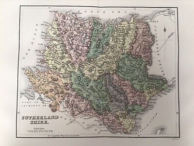 Sutherland Shire 1885 Antique County Map, Bartholomew, Atlas, Scotland, Colour