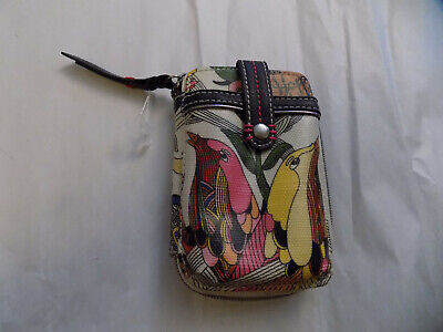 New Sakroots Wristlet Phone Wallet Floral Bird Zipper Coated Canvas Ivory Yellow for sale  Harrisburg