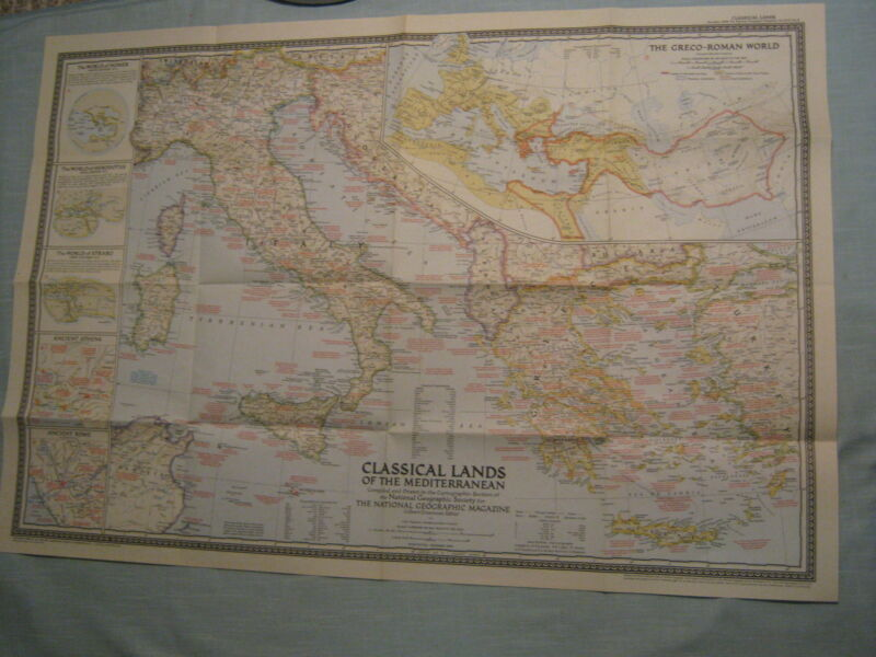 VINTAGE CLASSICAL LANDS OF THE MEDITERRANEAN LARGE MAP National Geographic 1949