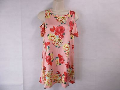 For G   Pl  Womens L Pink Floral Print Cut Out Shoulder Short Sleeve Tops New