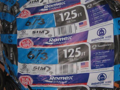 NEW Romex 125 Ft. 6-3 Stranded Black NM b Wire