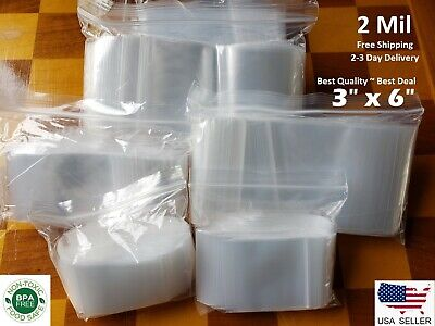 3x 6 Clear 2 Mil Zip Lock Bags Poly Plastic Reclosable Seal Small Mini Baggies