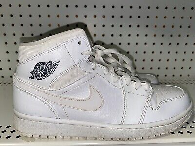 Nike Air Jordan 1 Mid Mens Athletic Basketball Shoes Size 8.5 Triple White Gray