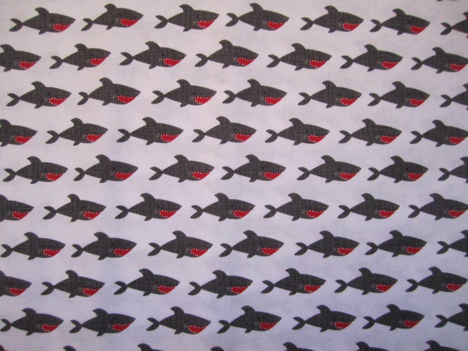 Blackbeard's Pirates Sharks on white 100% cotton Riley Blake