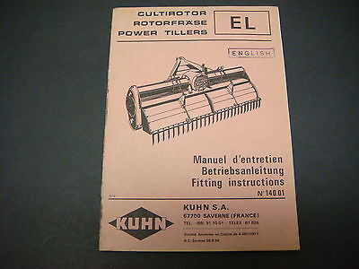 (Kuhn Manual EL Power Tillers Fitting Instructions  No 140.01)