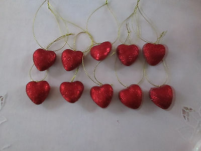 "Pkg of 10- Miniature 1"" Red Glitter Heart Valentines Day Ornaments,  NEW"