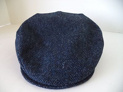Hanna Hat blue black herringbone tweed flat cap Irish Donegal vintage style ivy