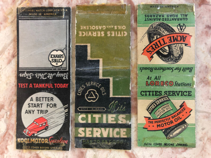 Cities Service Matchbook Cover Lot Motor Oil Acme Tires Loreco Koolmotor Gas