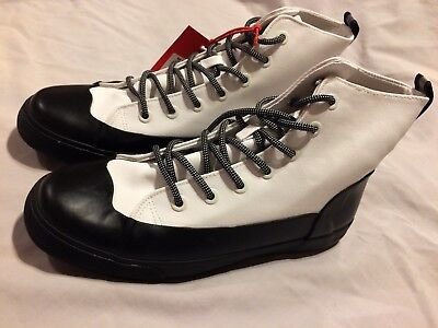 Adult High Top Sneakers (NWT Hunter for Target Adult Unisex Dipped Canvas High Top Sneakers White W11/ M9 )