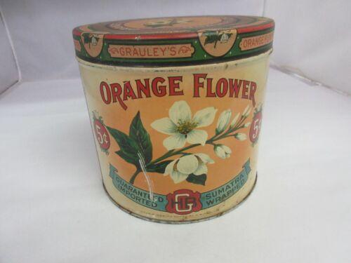 VINTAGE ADVERTISING  EMPTY ORANGE FLOWER ROUND CIGAR TOBACCO TIN     213-N