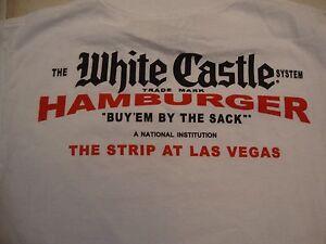 White Castle Burgers Restaurant Las Vegas Souvenir White Cotton T Shirt Size S