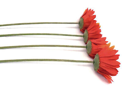 4 Stems ORANGE Daisy Artificial Silk Flowers 24